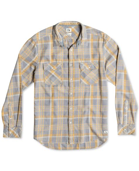 quiksilver tang titan flannel plaid acid wash shirt in purple for lyst