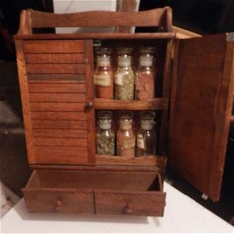 Wooden Spice Cabinet With Doors Beautiful Vtg Wooden Spice Rack Cabinet From Kristy78kristina On