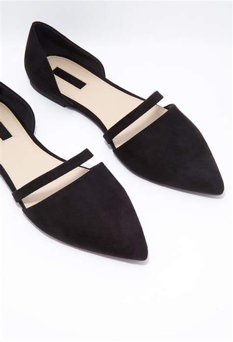forever 21 flat shoes forever 21 cutout faux suede flats in black lyst