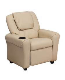 personalized beige vinyl recliner with cup holder and