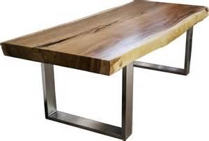 massivholz tische massivholztisch aus einem baumstamm mit gestell aus