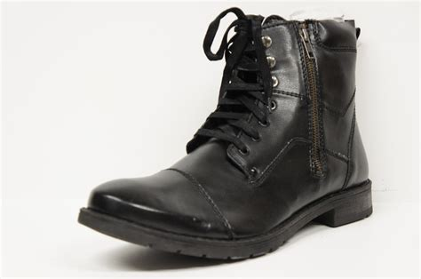 alfani tex lace up utility zip black boots s