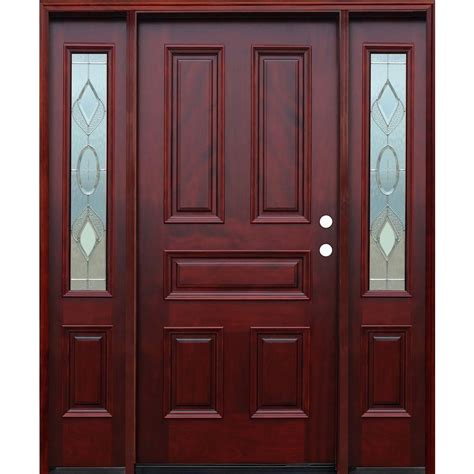 Classic Front Doors Pacific Entries 66 In X 80 In Classic Strathmore Traditional 5 Panel Stained Mahogany Wood