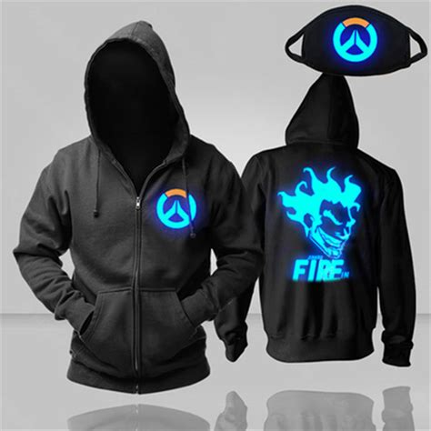 Hoodie Overwatch cool luminous overwatch ow mercy dva black sweatshirt hoodie jacket coat new ebay