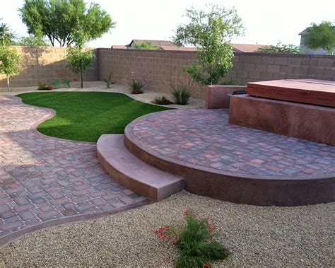 backyard with pavers tucson stone pavers turf kmac landscaping construction