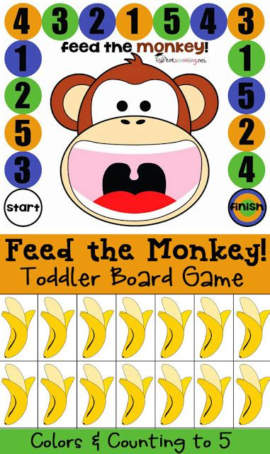 printable toddler board games free board game for toddlers and prek feed the monkey