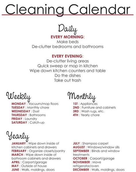 house cleaning schedule list of daily weekly monthly and yearly chores to do tips tricks pinterest list