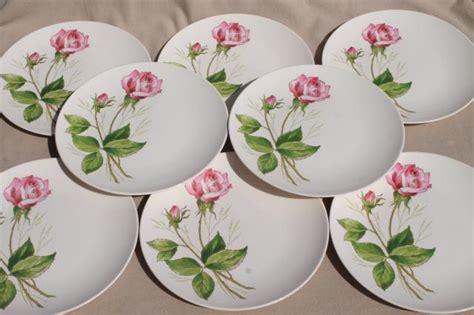 pink rose pattern china pink tea rose pattern plates mid century vintage knowles
