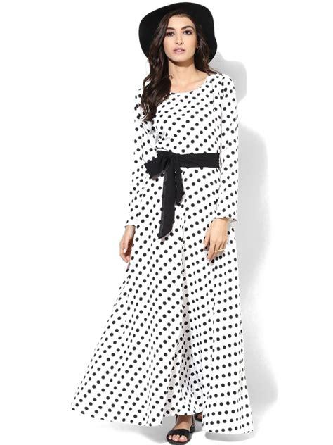 Maxi Dress Polka netanya white polka dots maxi dress skt1082 cilory