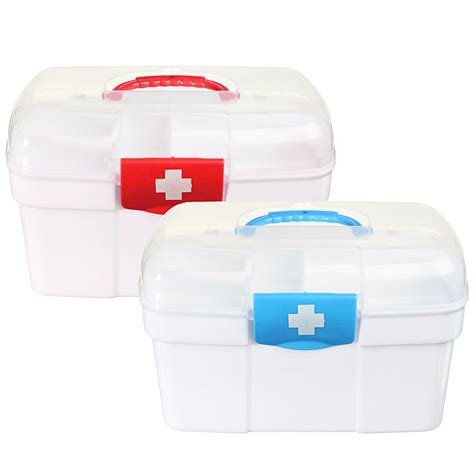Plastic Medicine Box 2 layers plastic medicine storage box chest aid