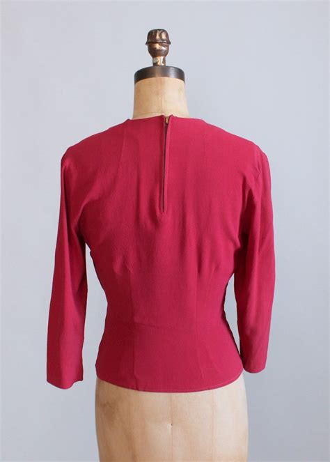 Big Blouse Material Spandex Rayon Fit To Xl Atasan vintage 1940s raspberry rayon shirt raleigh vintage