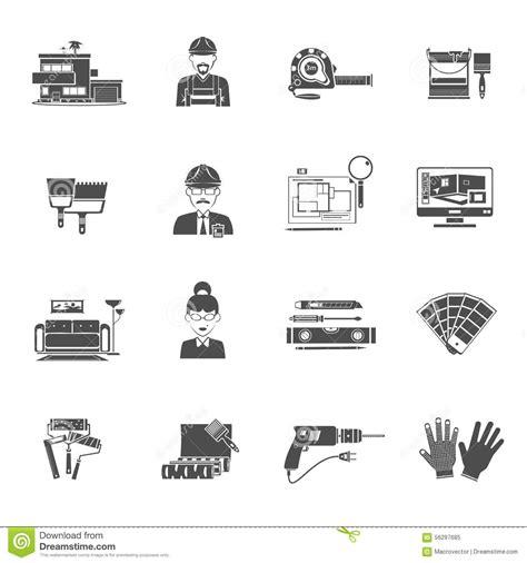 interior design elements vector interior design black icons set stock vector image 56297685