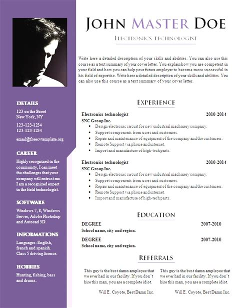 resume sle format doc 16406 free resume templates for docs resume format word
