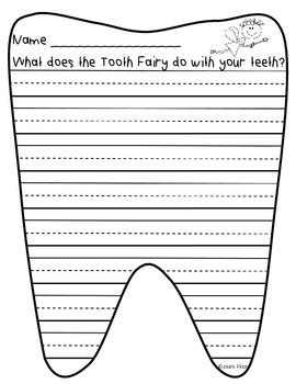 tooth writing template tooth creative writing paper and prompt by josie s
