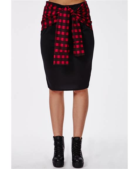 missguided plus size checked tie waist midi skirt in black