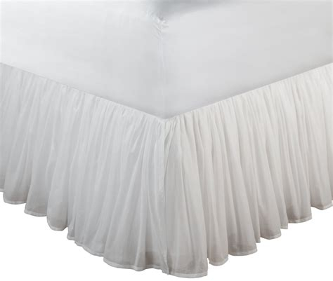 bed skirt full white sheer cotton voile ruffled bed skirt dust ruffle 15 quot or 18 quot drop twin full