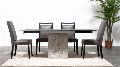 marble table base modern citadel extension dining table grey marble base