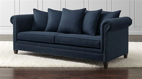 pictures of couches durham navy blue couch with nailheads crate and barrel