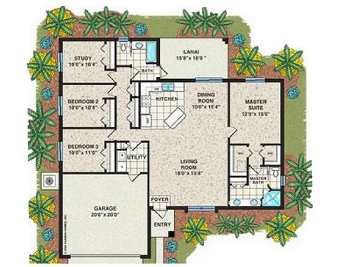 The Huntington Plan 3 Bedroom 2 Bath 2 Car Garage House Plans 3 Bedroom 2 Bath Car Garage