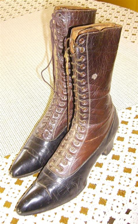 brown black two tone all leather boots
