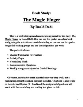 Book Study on The Magic Finger by Lucky Teaching Materials