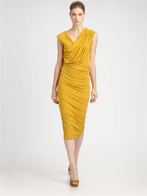 dress drape donna karan twist drape dress in yellow lyst