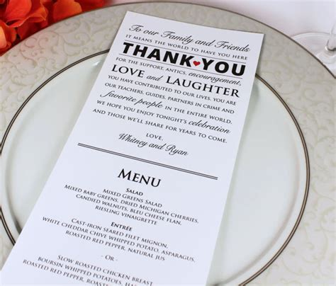 how to make wedding menu cards wedding reception menu and thank you card by