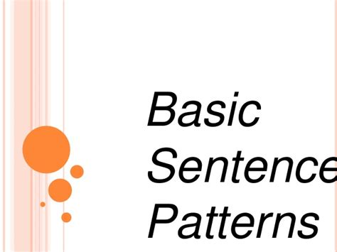 exle of basic sentences pattern basic sentence patterns