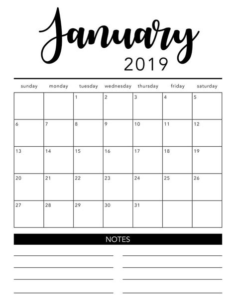 Free 2019 Printable Calendar Template 2 Colors I Heart Naptime 2019 Planner Template