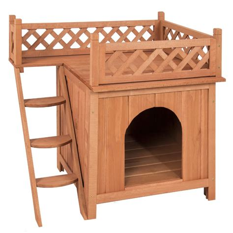 house dog bed dog house wood room puppy pet indoor outdoor raised roof balcony bed shelter