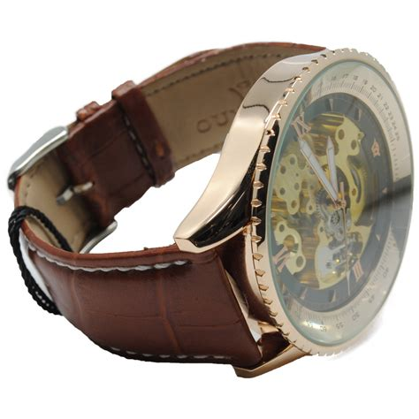 ouyawei skeleton leather automatic mechanical