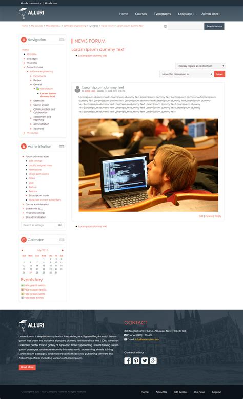 moodle themes forum alluri responsive moodle theme for online learning platform
