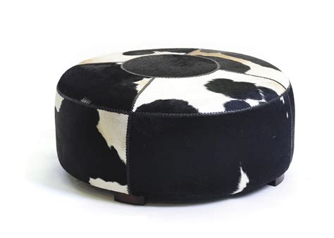 cow hide ottoman large modern black and white cowhide round coffee table