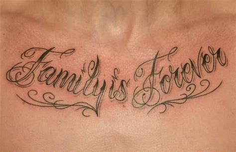 family chest tattoo family is forever on chest