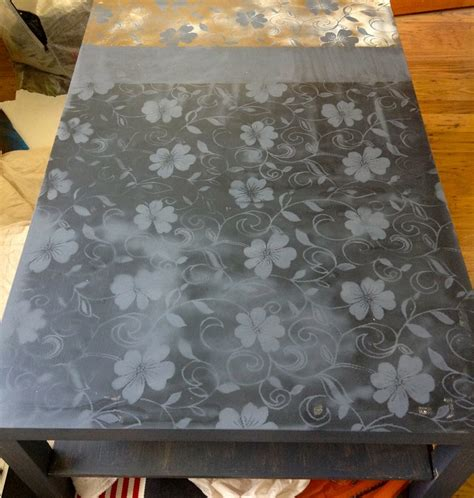spray painted coffee table painted