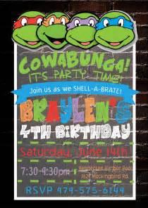 mutant turtles invitation design graphics