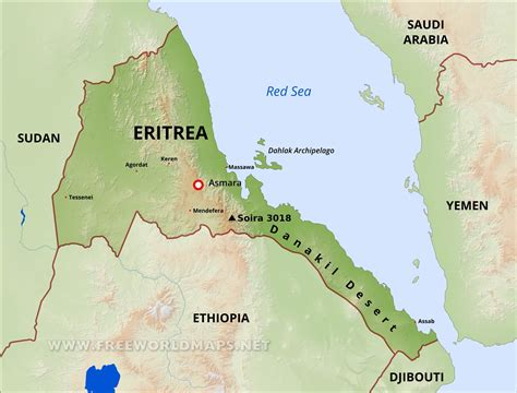 eritrea map eritrea physical map