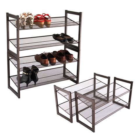 langria metal mesh 4 tier 16 pairs shoe shoes rack shelf