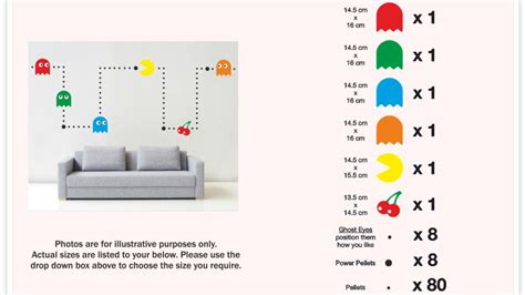Custom Wall Stickers Uk pacman wall mural sticker kit retro vinyl kids games decal