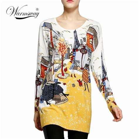 Fashion Ws 2017 fashion and high quality s print pullover sweater knitting sweater dress plus