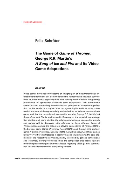 (PDF) The Game of Game of Thrones. George R.R. Martin's A