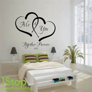 Quote Wall Stickers For Bedrooms me and you love heart wall sticker quote love home wall