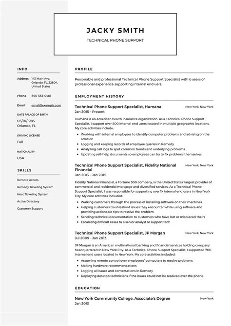 Technical Resume Templates by Technical Phone Support Resume Template Resumeviking
