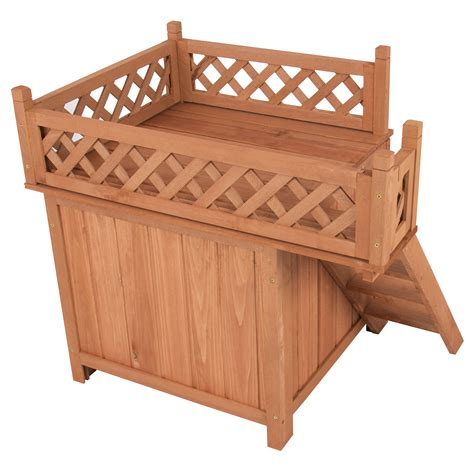 best wood for dog house best choice products wood dog house shelter with raised roof balcony ebay