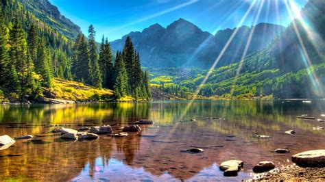 lake maroon bells usa colorado mountains with green forest clear water sunlight wallpapers13 com