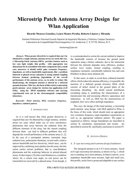 design application publication microstrip patch antenna array design for pdf download