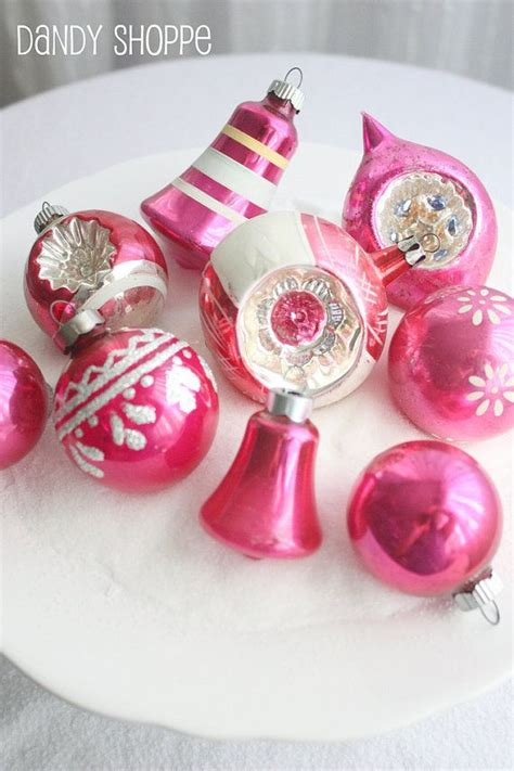 shiny brite retro vintage glass christmas ornaments pink