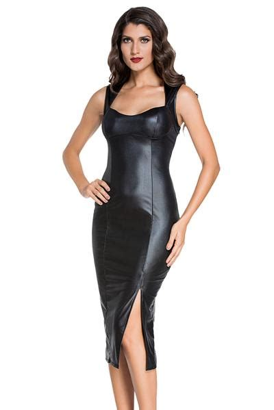 Dress Model Black Style Impor 46 black faux leather bodice with sweetheart neckline padded midi dress hisandherfashion
