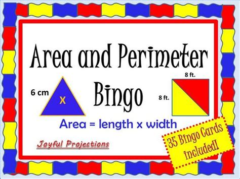 printable area and perimeter games math bingo cards for 3rd grade 1000 images about math