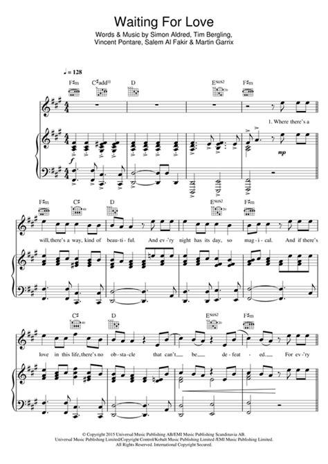 Partition piano Waiting For Love de Avicii - Piano Voix